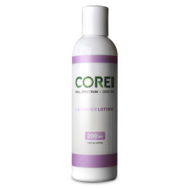 Core CBD Lavendar CBD Lotion in a large, white bottle.