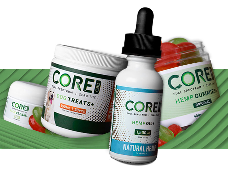 A selection of Core CBD products set against a green background.