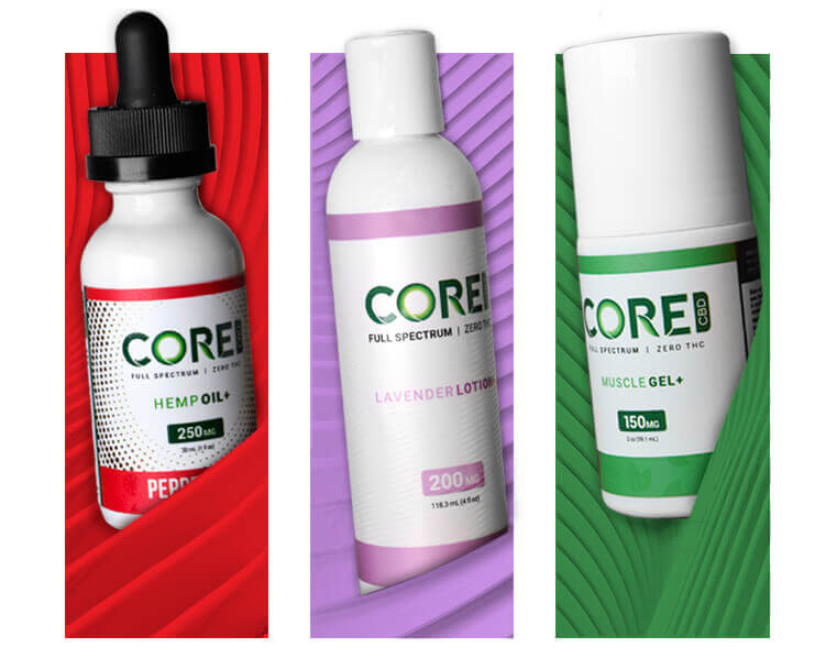 A selection of Core CBD Products set against colorful backgrounds.
